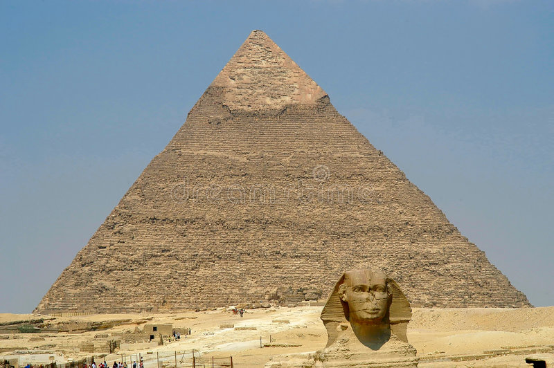 Cheope pyramid and Sphynx stock photo