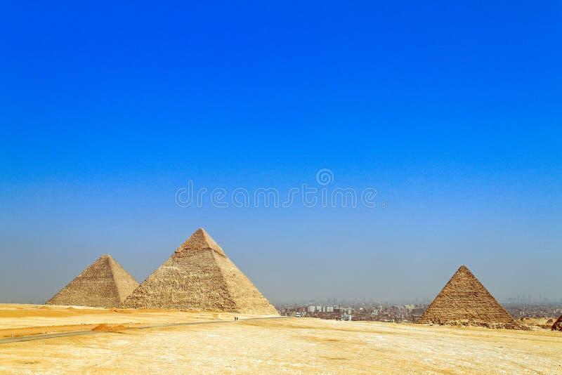 cheops chephrenpyramide埃及吉萨棉 库存照片