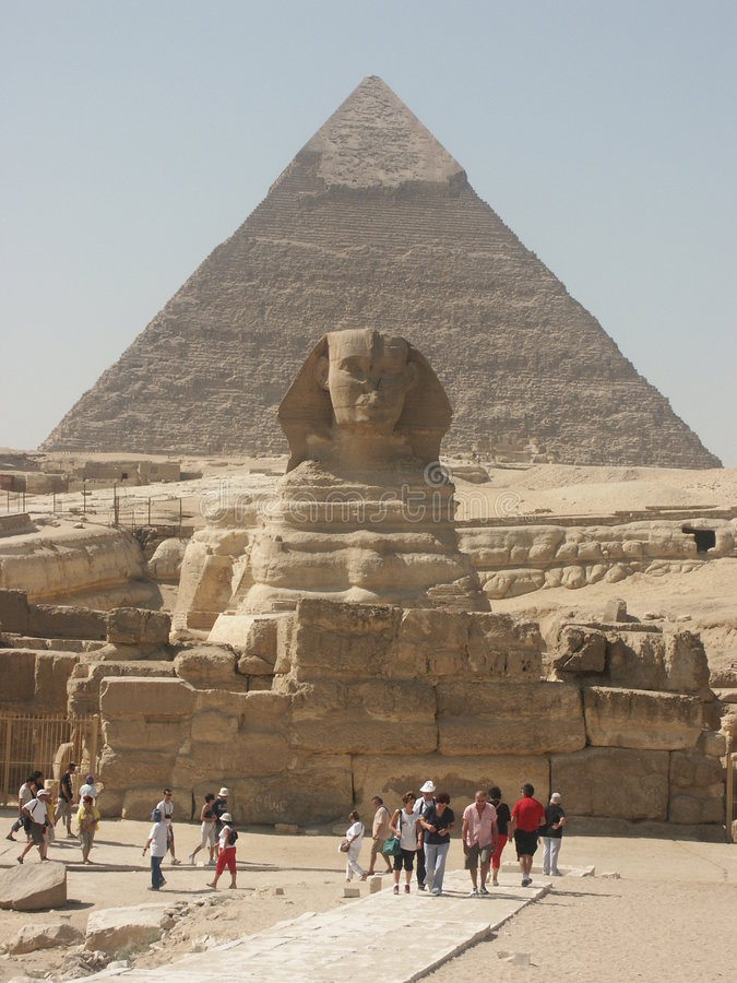 Cheops and the Sphinx. Gizeh plateau near Cairo Egypt stock image