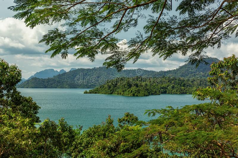 Cheow Lan Lake in southern Thailand stock photography