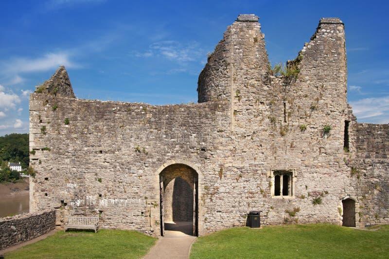 Chepstow castel废墟,基础, 1067-1188 库存图片