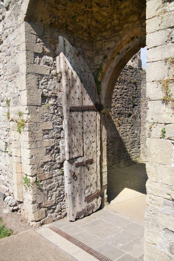 Chepstow castel废墟,基础, 1067-1188 免版税图库摄影