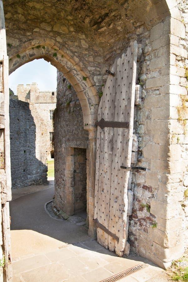 Chepstow castel ruïnes, Stichting, 1067-1188 royalty-vrije stock afbeelding