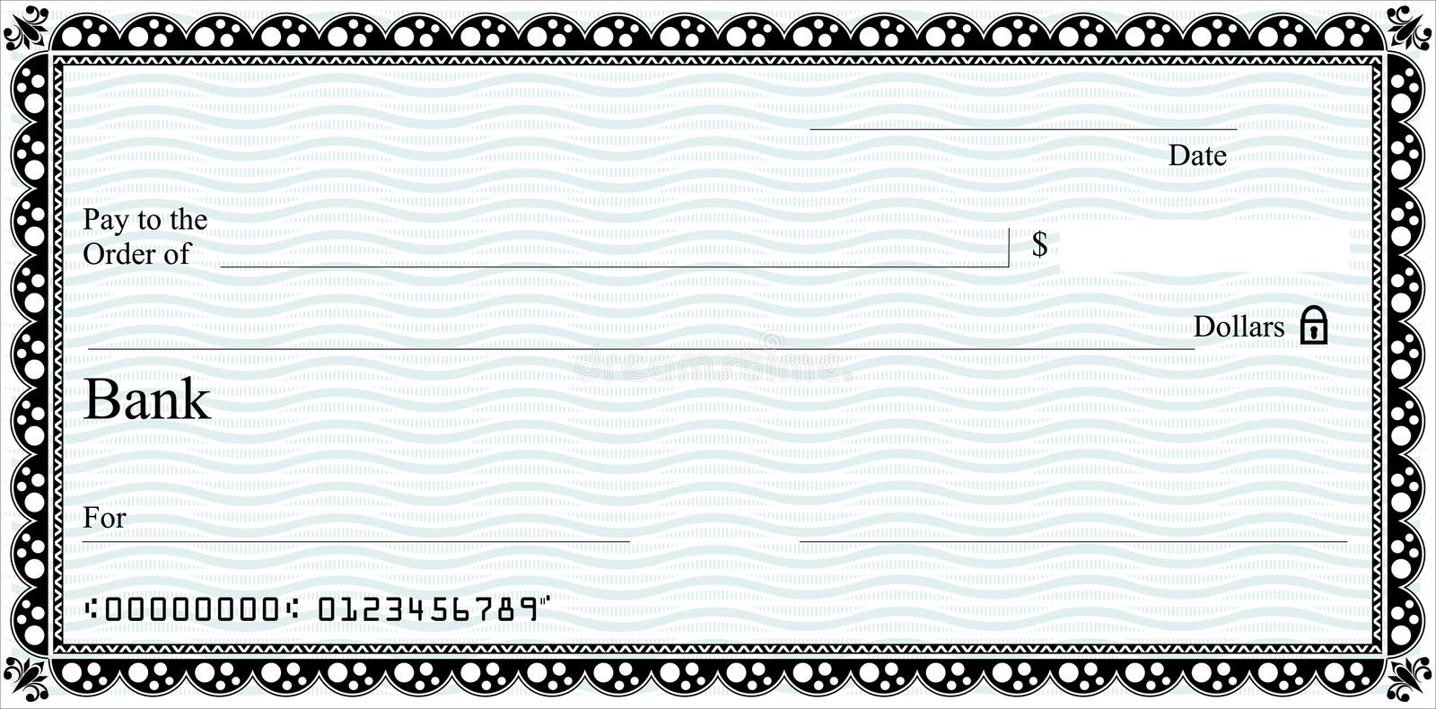 Cheque. A generic cheque template. With vector download option. Ideal for certificate