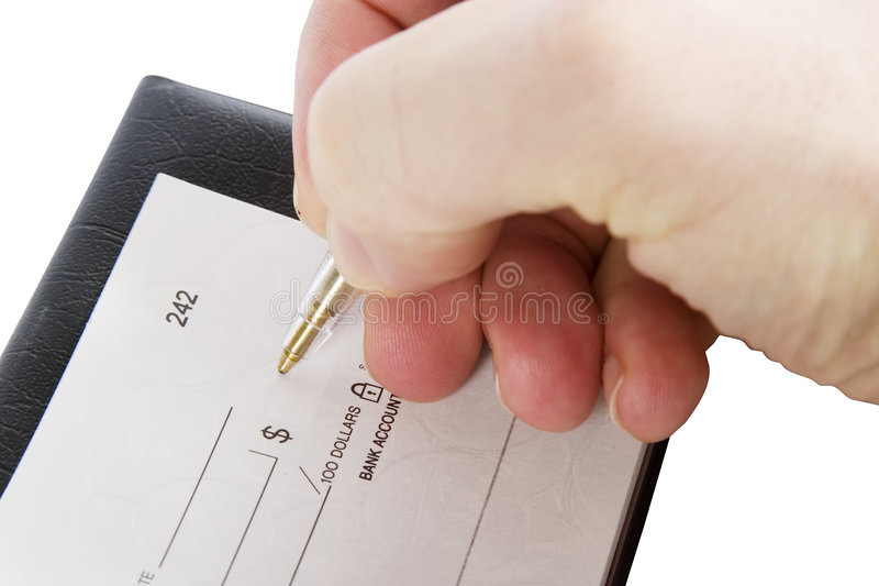 Cheque Amount. A male hand filling out the amount on a cheque. Isolated on white with clipping path royalty free stock photo