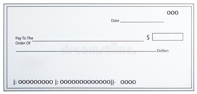 Cheque blanco en blanco imagen de archivo libre de regalías