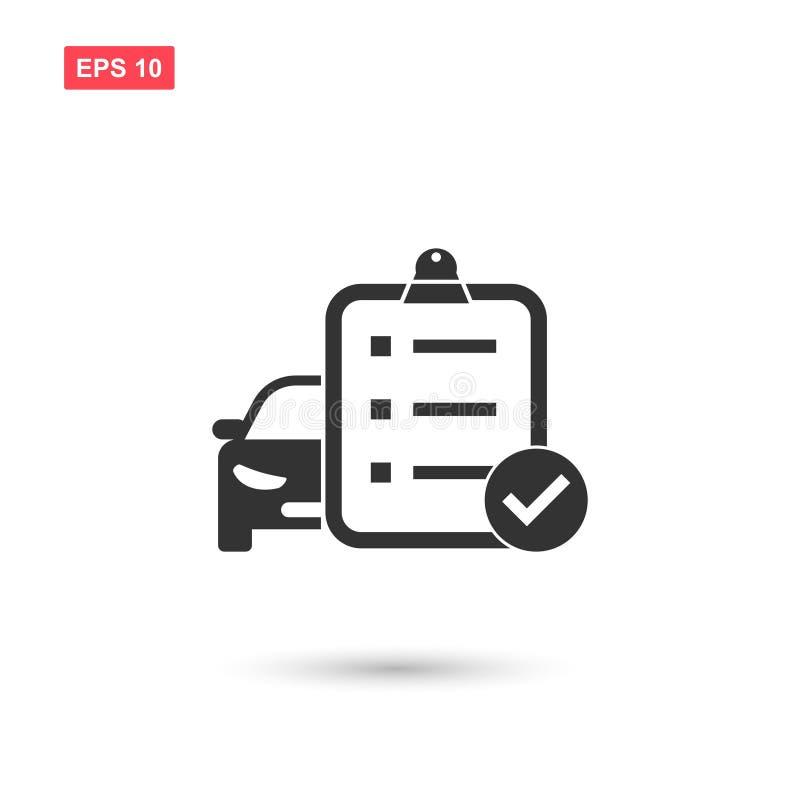 Chequeo del coche con la nota y el vector de la marca de cotejo aislados stock de ilustración