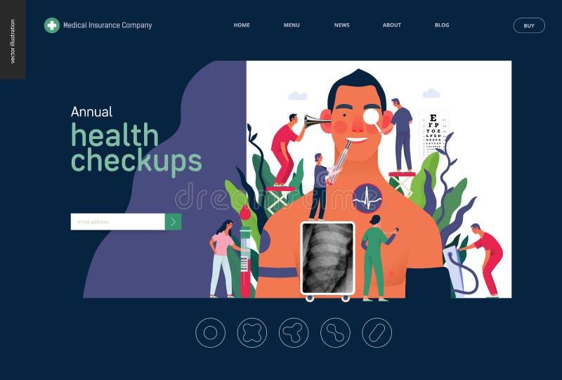 Chequeoes de salud anuales - plantilla del seguro médico libre illustration