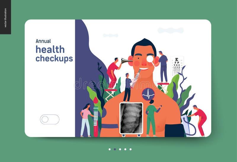 Chequeoes de salud anuales - plantilla del seguro médico stock de ilustración