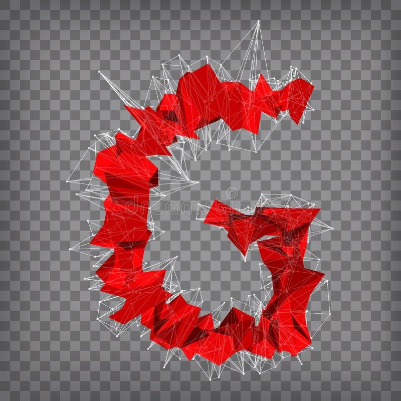 Chequered эмблема абстрактного вектора красная современная триангулярная g на иллюстрация вектора