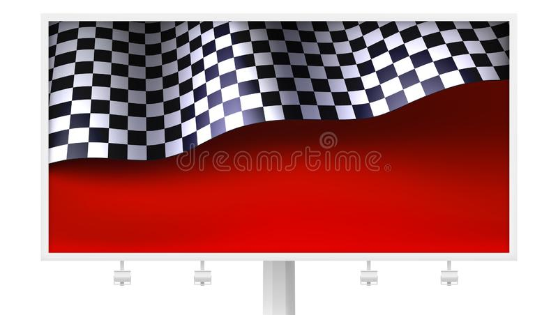 Chequered flag with creases on realistic billboard. Sports background with finishing flag on red backdrop, vector vector illustration