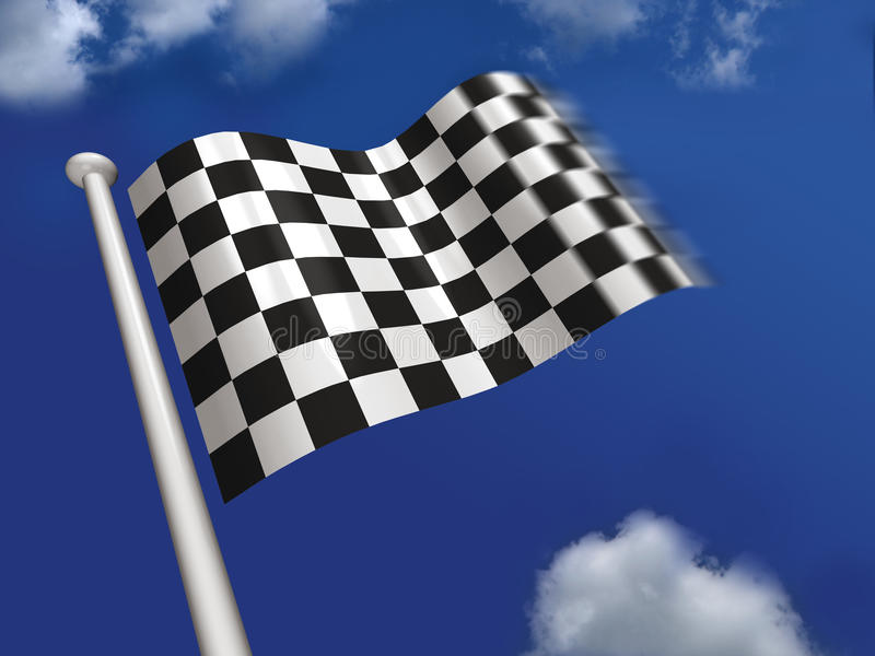 Download Chequered flag flying stock illustration. Image of check - 10474687