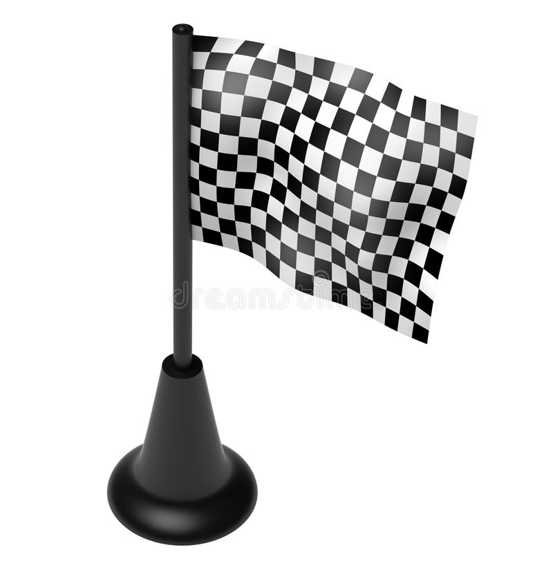 Download Chequered Flag On The Mast. Isolated On Stock Illustration - Illustration: 12424312