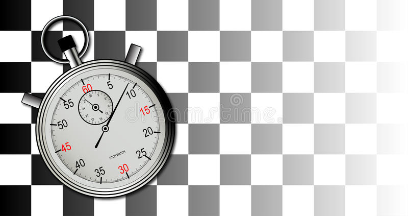 Chequered Flag and Stop Watch stock illustration