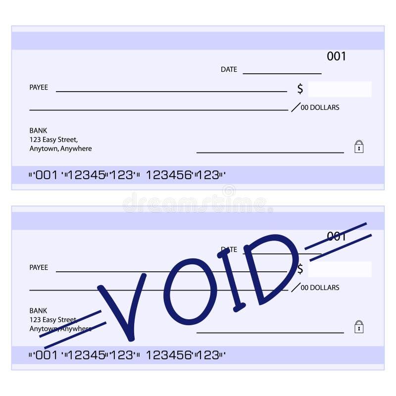 Cheques genéricos en blanco stock de ilustración