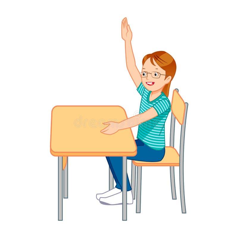 Cher étudiant, soulevant ses mains illustration de vecteur