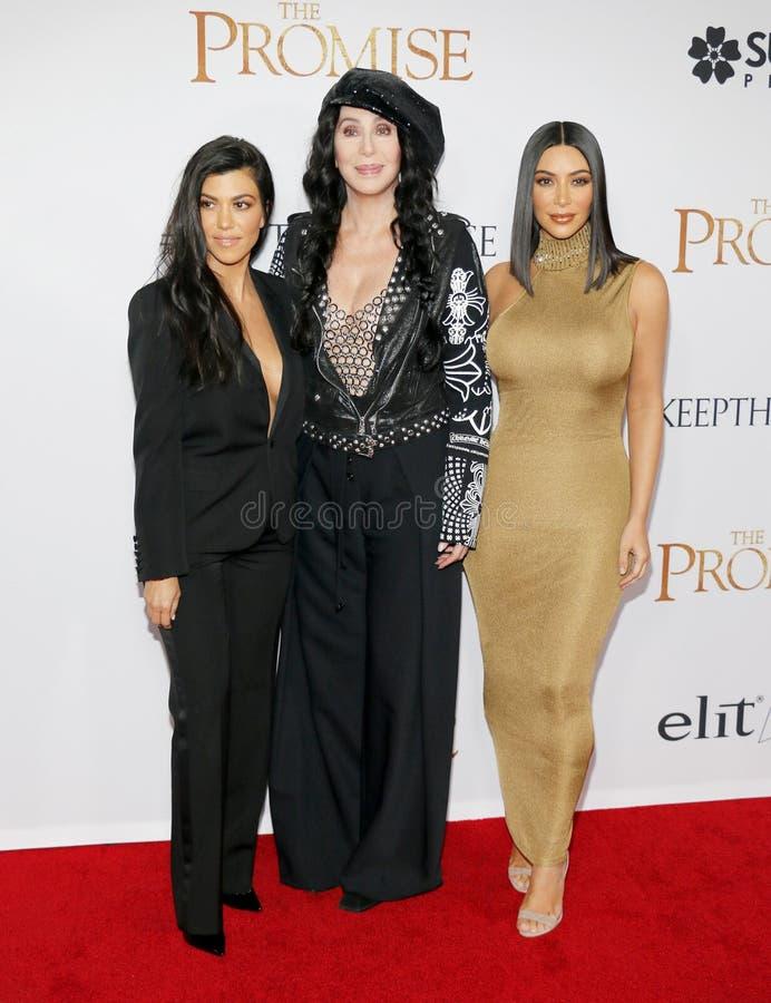 Cher, Kim Kardashian West et Kourtney Kardashian photos libres de droits