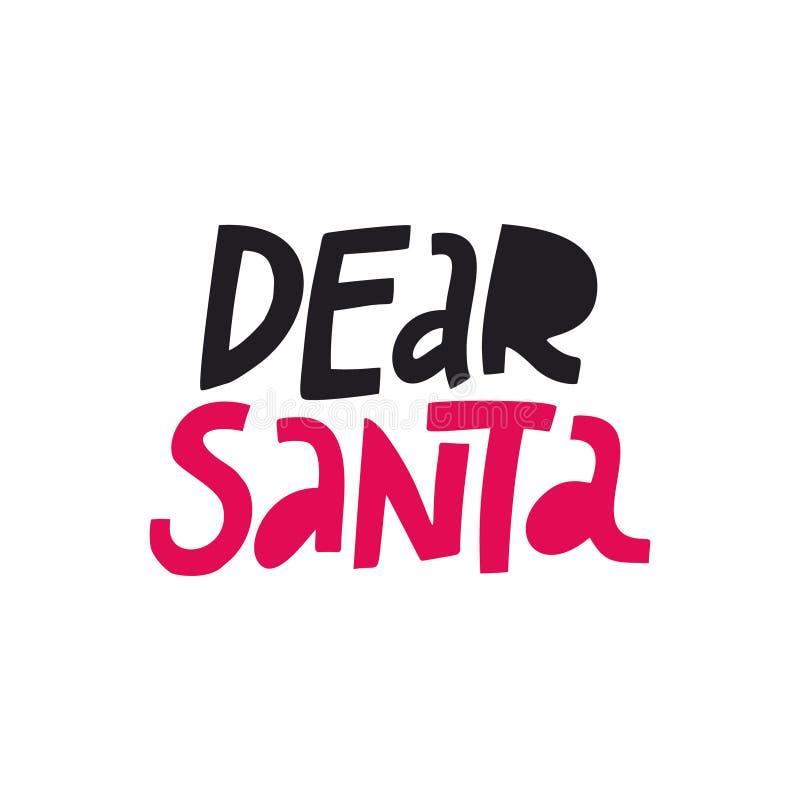 Cher lettrage de couleur de vecteur de Santa illustration stock