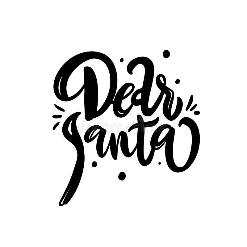 Cher lettrage tiré par la main de Santa D'isolement sur le fond blanc Illustration de vecteur illustration de vecteur