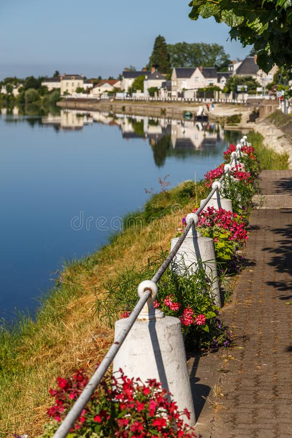 Cher river bank in historic Montrichard town stock photos