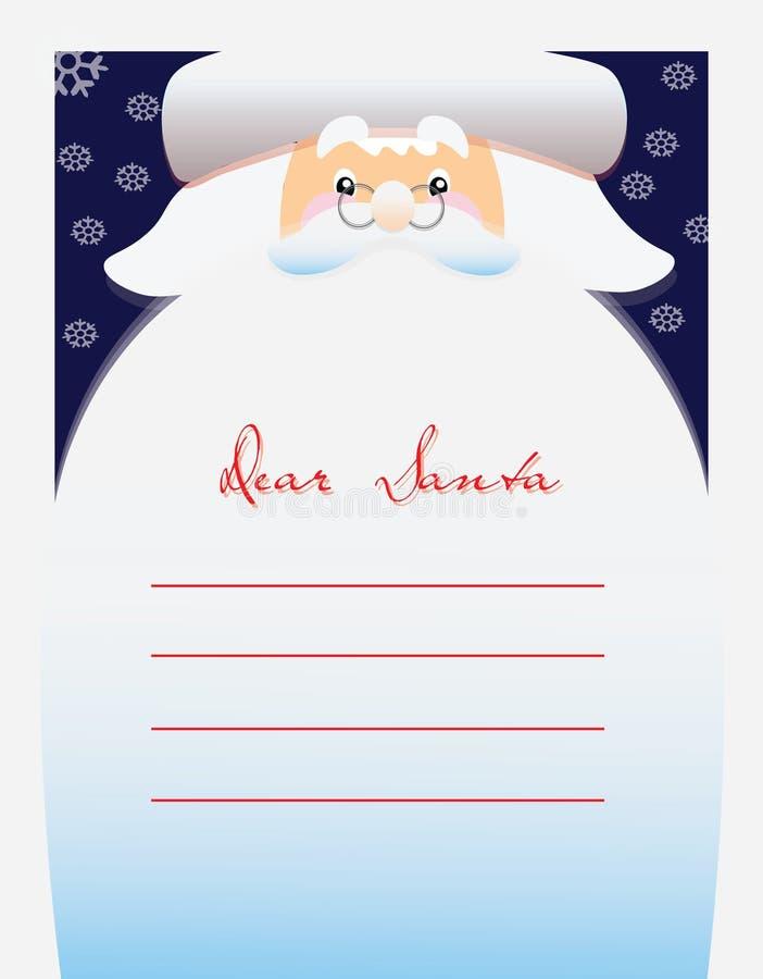 Cher texte de Santa pour la lettre illustration stock