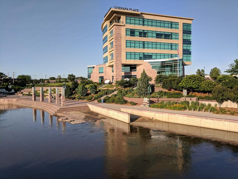 Cherapa Place on the Water. Cherapa Place on the Big Sioux River in downtown Sioux Falls, SD stock image