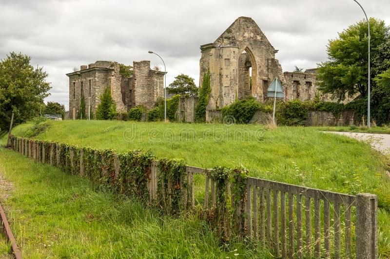 Remains of the Abbaye Notre-Dame du Voeu or Abbey of the Vow in Cherbourg. Basse Normandie, France. Cherbourg-Octeville, France - August 27, 2018: Remains of the royalty free stock images
