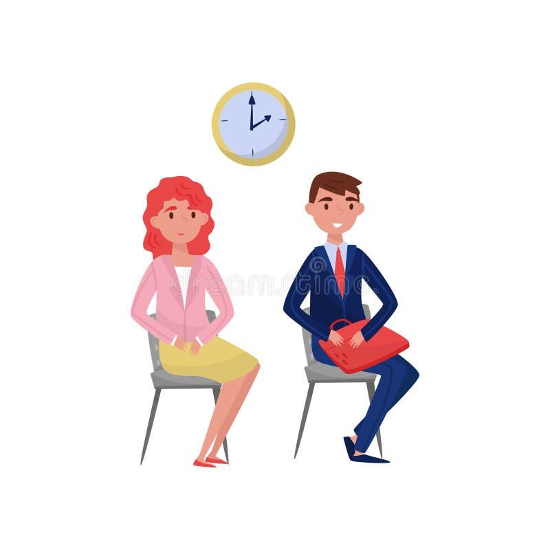 Chercheurs d'emploi attendant une entrevue à l'illustration de vecteur de bureau sur un fond blanc illustration libre de droits