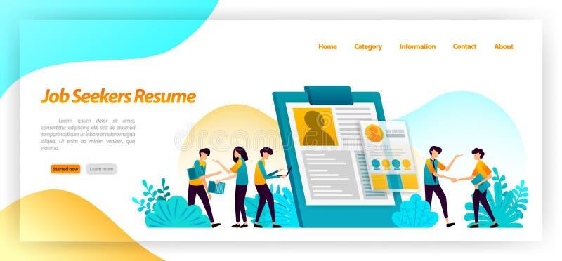 Chercheurs d'emploi de résumé formulaire de demande pour trouver des travailleurs ou des employés pour des entrevues d'emploi de  illustration stock