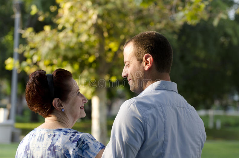 Cherishing mother son bond. royalty free stock photography