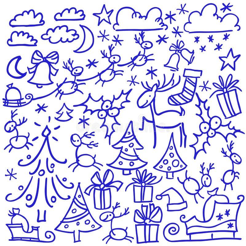 Cheristmas d'un griffonnage de vecteur joyeux et ensemble de bonne année Éléments d'isolement de conception : cerfs communs, sapi illustration libre de droits