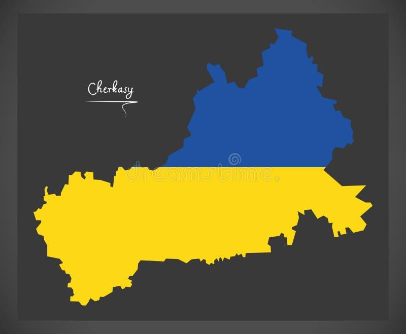Cherkasy map of Ukraine with Ukrainian national flag illustration. Cherkasy map of Ukraine with Ukrainian national flag royalty free illustration