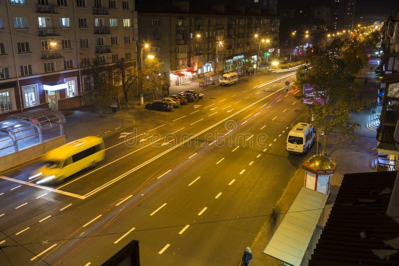 Chernigiv stad på natten ukraine arkivbilder