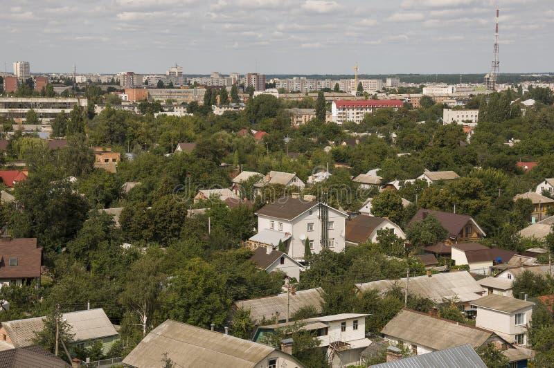 Chernigov, Ukraina Sierpień 15, 2017 Mali budynki i ulicy Widok od odgórnej wysokości zdjęcia royalty free
