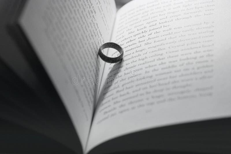 Chernihiv, de Oekraïne - Mei 9, 2019: De ring in het boek Houten ring Abstracte Foto royalty-vrije stock foto's