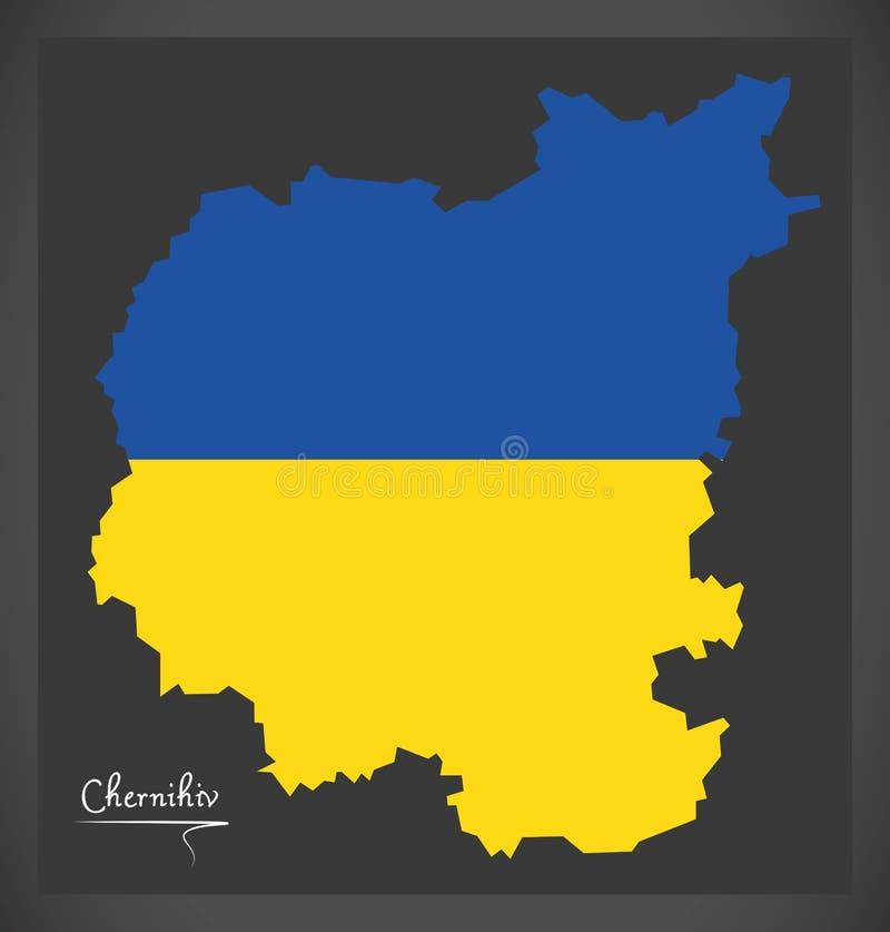 Chernihiv map of Ukraine with Ukrainian national flag illustration. Chernihiv map of Ukraine with Ukrainian national flag royalty free illustration