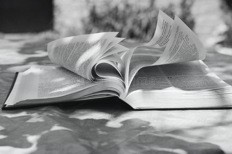 Chernihiv Ukraina - Maj 27, 2019: En öppen bibel på tabellen book livstid arkivbilder