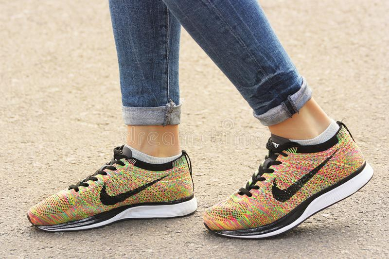 Chernihiv, Ukraine - April 19, 2019: Close-up Nike sneakers. Women`s shoes.  royalty free stock image