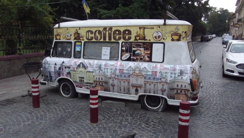 Chernivtsi kawa na kołach obraz stock