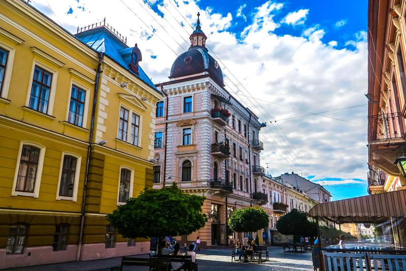 Chernivtsi Kobylyanskoi Street 01. Chernivtsi Picturesque Breathtaking Multi Level Neoclassical Buildings Kobylyanskoi Shopping Street Promenade stock photos