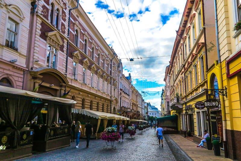 Chernivtsi Kobylyanskoi Street 03. Chernivtsi Picturesque Breathtaking Multi Level Neoclassical Buildings Kobylyanskoi Shopping Street Promenade stock photos