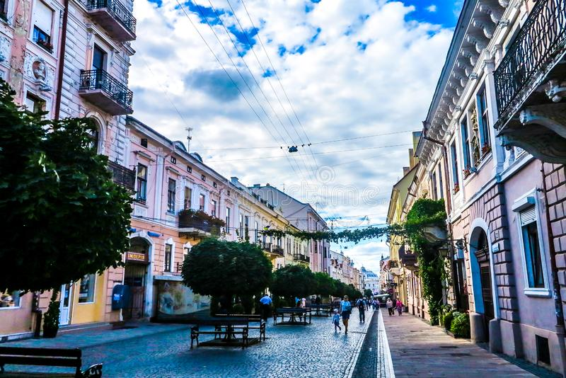 Chernivtsi Kobylyanskoi Street 02. Chernivtsi Picturesque Breathtaking Multi Level Neoclassical Buildings Kobylyanskoi Shopping Street Promenade stock photography
