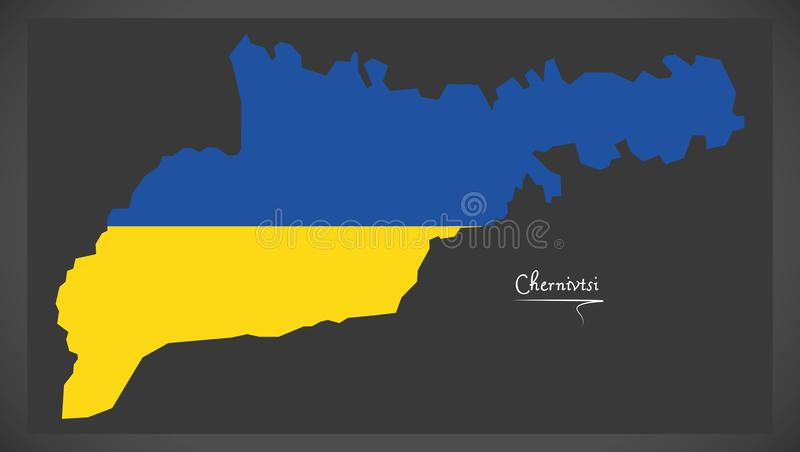 Chernivtsi map of Ukraine with Ukrainian national flag illustration. Chernivtsi map of Ukraine with Ukrainian national flag vector illustration