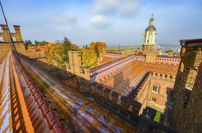 Chernivtsi National University landscape. Chernivtsi National University at sunny autumn day. Landscape Chernivtsi city Ukraine stock photography
