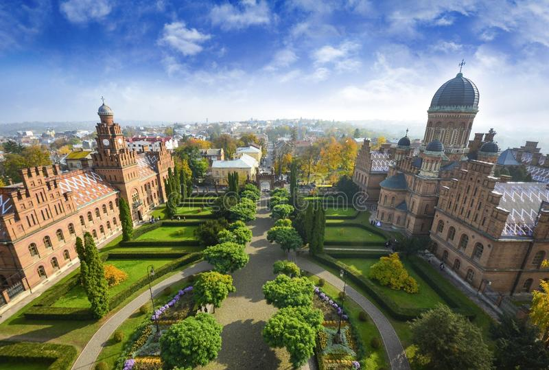 Chernivtsi National University landscape. Chernivtsi National University at sunny autumn day. Landscape Chernivtsi city Ukraine royalty free stock photos