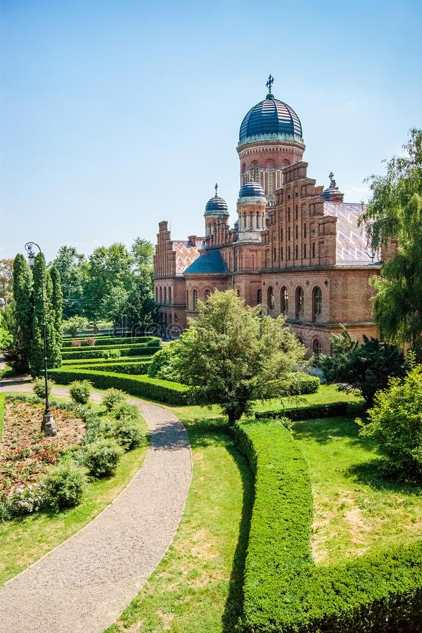 Chernivtsi. Ukraine.Chernivtsi National University named after Y. Uri Fedkovich in summer stock photos