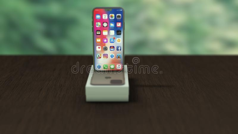 Chernivtsi, Ukraine - July 11, 2019: Apple iPhone 11 PRODUCT Silver and box on a wooden table. royalty free illustration