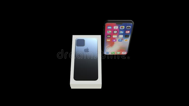Chernivtsi, Ukraine - July 11, 2019: Apple Iphone 11 release retail box and the smartphone itself. vector illustration