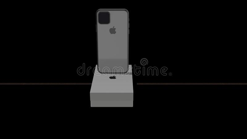 Chernivtsi, Ukraine - July 11, 2019: Back and front view of a Space Grey iPhone. 4K. stock illustration