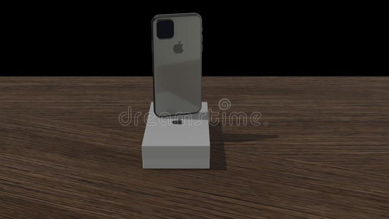 Chernivtsi, Ukraine - July 11, 2019: backside of an new space gray iPhone 11 from Apple on box, which is on wooden. New Apple iPhone 11, mobile smartphone is stock illustration